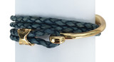 Double Wrap Denim Blue Leather Bracelet Gold Hook Clasp Detail
