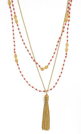 Layered Coral Rosary Link and Chain Tassel Necklace