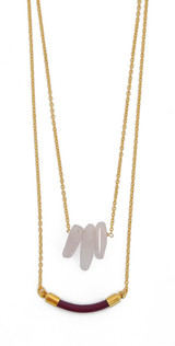 Rose Quartz & Magenta Leather Station Layered Necklace