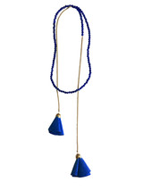 Sapphire blue beaded wrap necklace with suede flowers