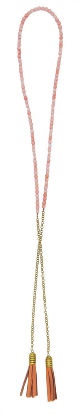 beaded pink coral wrap necklace with coral leather tassels