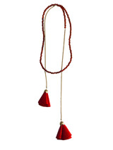 Red coral beaded wrap lariat with red suede flower tassels