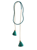 Amalie Turquoise Beaded Wrap Necklace with Leather Tassels