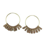 Rose gold leather medium size hoop earrings