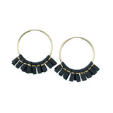 Grey leather medium size hoop earrings