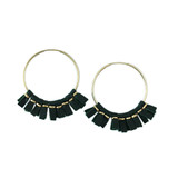 Green leather medium size hoop earrings