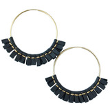 Large grey leather hoop earrings