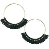 Large green leather hoop earrings