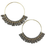 Large taupe leather hoop earrings