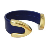 Royal blue leather cuff bracelet