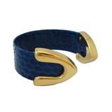Royal blue snakeskin cuff bracelet