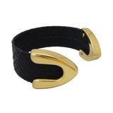 Matte black snakeskin cuff bracelet