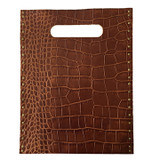Embossed alligator brown leather tote