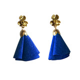 Classic blue suede flower tassel post earrings