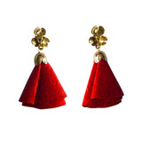 Red suede flower tassel post earrings