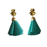 Turquoise suede flower tassel earrings
