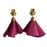 Magenta pink leather flower tassel post earrings