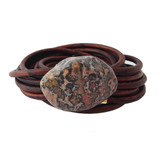 Multilayer brown leather and jasper wrap bracelet