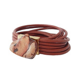 Multilayer brick red leather and jasper wrap bracelet
