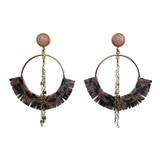 Open gold hoops with pink snakeskin and rose quartz