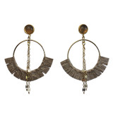 Open gold hoops with pearl snakeskin and agate