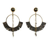 Open gold hoops with steel snakeskin and pyrite