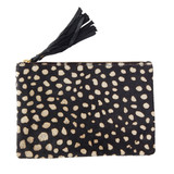 Black and ivory cowhide clutch