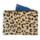 Black and white cheetah print cowhide clutch