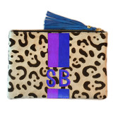 Custom monogram cowhide clutch