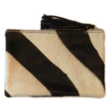 Black and white zebra print cowhide clutch