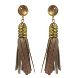 Rose gold leather and agate tassel earrings