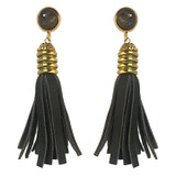 Olive green leather and labradorite tassel earrings