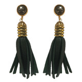 Dark green leather and pyrite tassel earrings