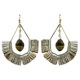 Gold leather fringe with tiger's eye statement earrings