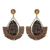 Rose gold leather with agate and jasper statement earrings