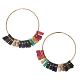 Large rainbow leather hoop earrings