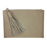 Bone colored lambskin tassel clutch