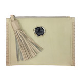 Ivory and shell lambskin tassel clutch with agate detail