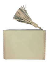 Ivory and shell lambskin tassel clutch - back view