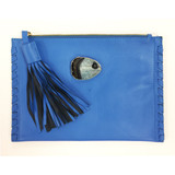 Blue lambskin tassel clutch with agate detail