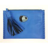 Blue lambskin tassel clutch with agate detail