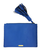 Blue lambskin tassel clutch - back view
