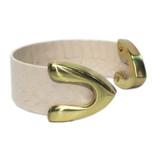 Pearl white snakeskin cuff bracelet