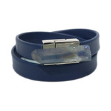 Navy blue leather wrap bracelet with aurora quartz