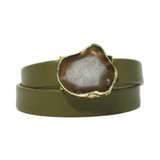 Olive green leather wrap bracelet with gold edge agate
