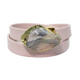 Light pink leather wrap bracelet with gold edge jasper