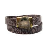 Steel grey lizard embossed leather wrap bracelet with agate