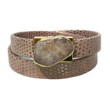 Rose gold embossed lizard leather wrap with agate