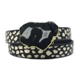 Black & white printed leather wrap with agate