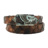 Brown python wrap bracelet with turquoise flower jasper